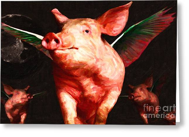 Charlotte Greeting Cards - Flying Pigs v2 Greeting Card by Wingsdomain Art and Photography