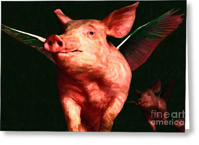 Charlotte Greeting Cards - Flying Pigs v3 Greeting Card by Wingsdomain Art and Photography