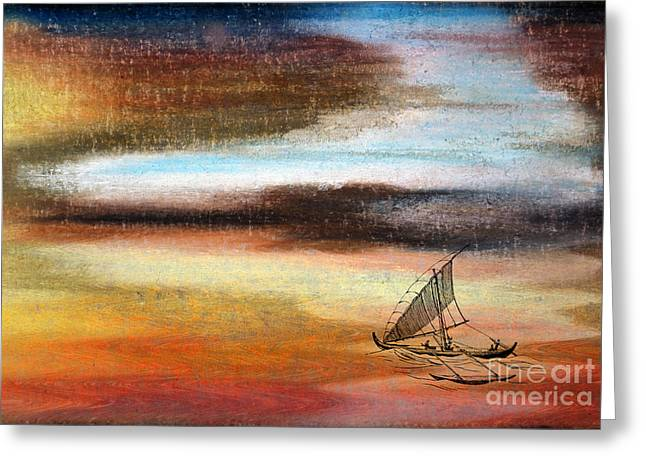 Ocean Sailing Pastels Greeting Cards - Flying Proa Greeting Card by R Kyllo
