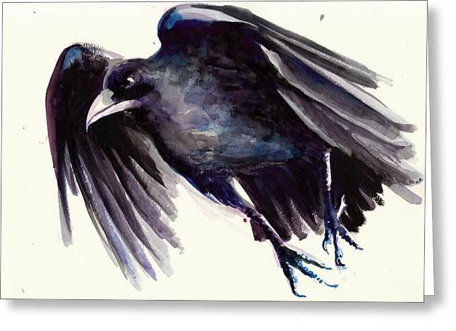 Flying Witch Greeting Cards - Flying Raven - Crow Painting Greeting Card by Tiberiu Soos