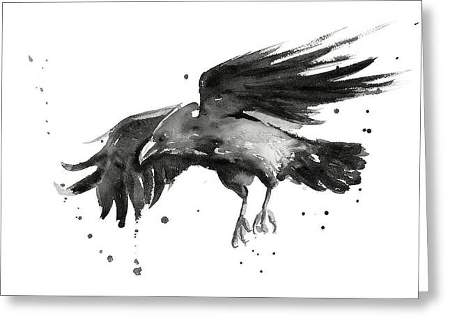 Flying Animal Greeting Cards - Flying Raven Watercolor Greeting Card by Olga Shvartsur