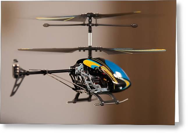 Pleasure Driving Greeting Cards - Flying RC helicopter Greeting Card by Alexandr Grichenko