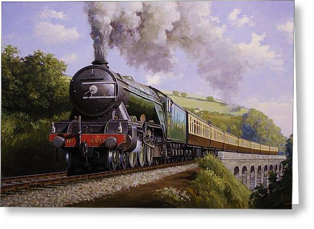 Engine Paintings Greeting Cards - Flying Scotsman on Broadsands viaduct. Greeting Card by Mike  Jeffries