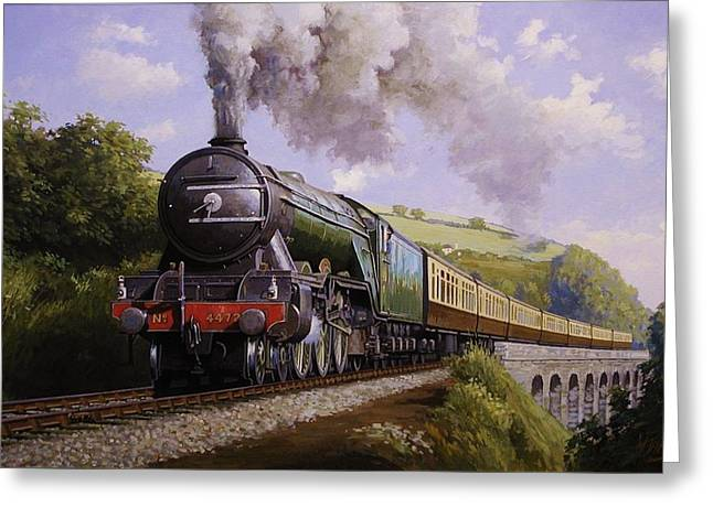 Steam Locomotive Greeting Cards - Flying Scotsman on Broadsands viaduct. Greeting Card by Mike  Jeffries