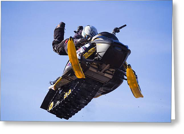 Yello Greeting Cards - Flying snowmobile Greeting Card by Mircea Costina Photography