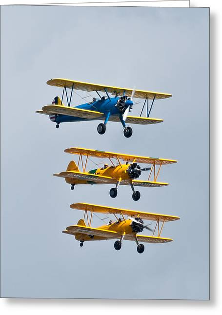 Plane Radial Engine Greeting Cards - Flying Steermen  Greeting Card by Puget  Exposure