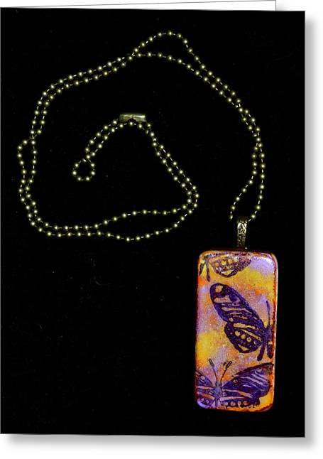 Pretty Jewelry Greeting Cards - Flying Strong Domino Pendant Greeting Card by Beverley Harper Tinsley