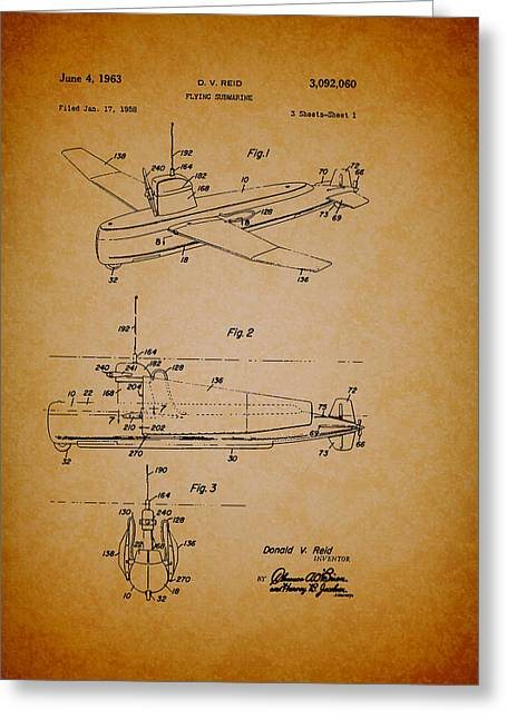 Conferring Greeting Cards - Flying Submarine Patent Greeting Card by Mountain Dreams