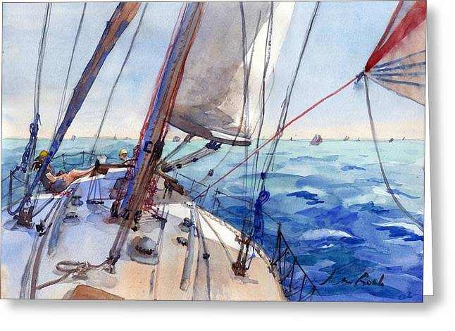 Sailing Boat Greeting Cards - Flying the Chute Greeting Card by Max Good