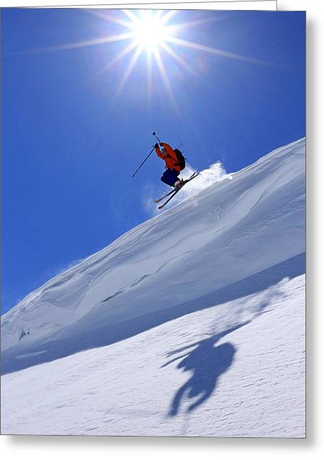 Freestyle Skiing Greeting Cards - Flying the friendly skies... Greeting Card by Johnny Adolphson