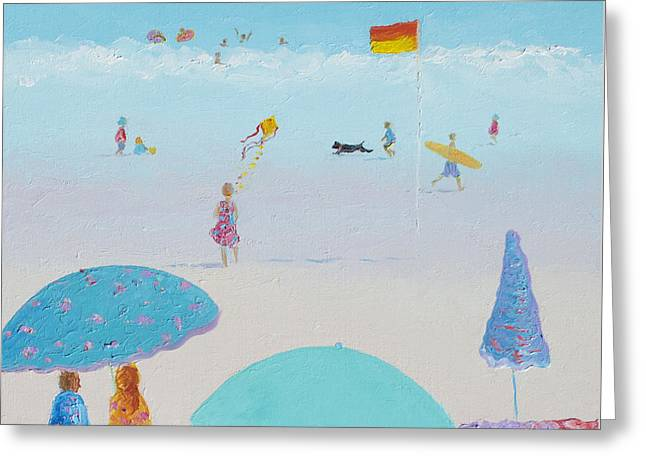 Flying The Kite - Beach Painting Greeting Card by Jan Matson