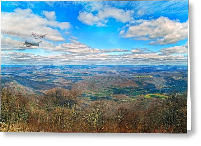 Tranquil Moments Greeting Cards - Flying the Sky Blue Ridge Parkway Greeting Card by Betsy A  Cutler