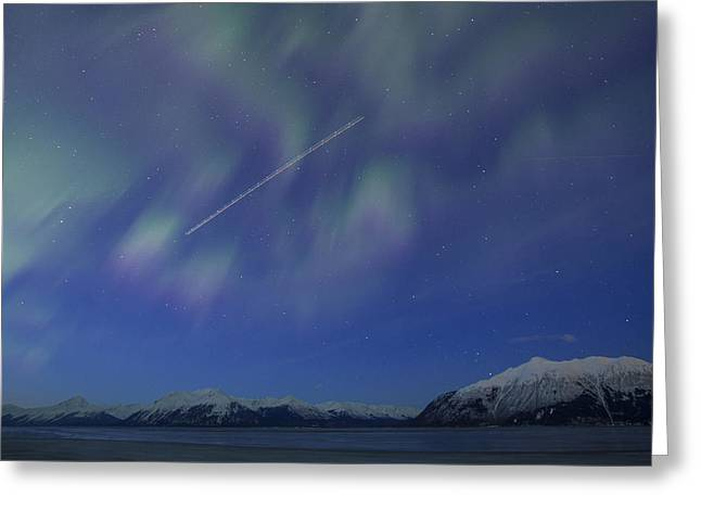 Jet Star Photographs Greeting Cards - Flying Through the Northern Lights Greeting Card by Tim Grams