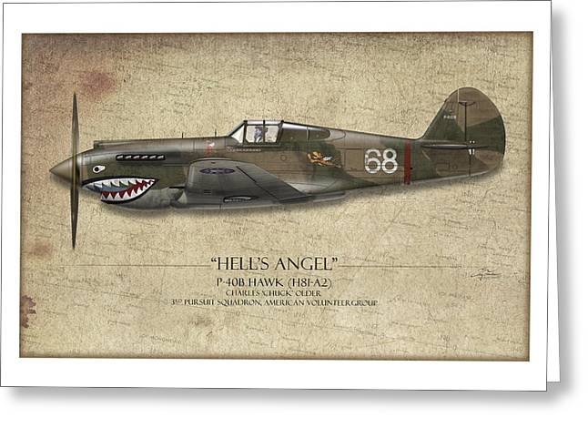 Shark Digital Art Greeting Cards - Flying Tiger P-40 Warhawk - Map Background Greeting Card by Craig Tinder