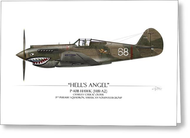 Shark Digital Art Greeting Cards - Flying Tiger P-40 Warhawk - White Background Greeting Card by Craig Tinder