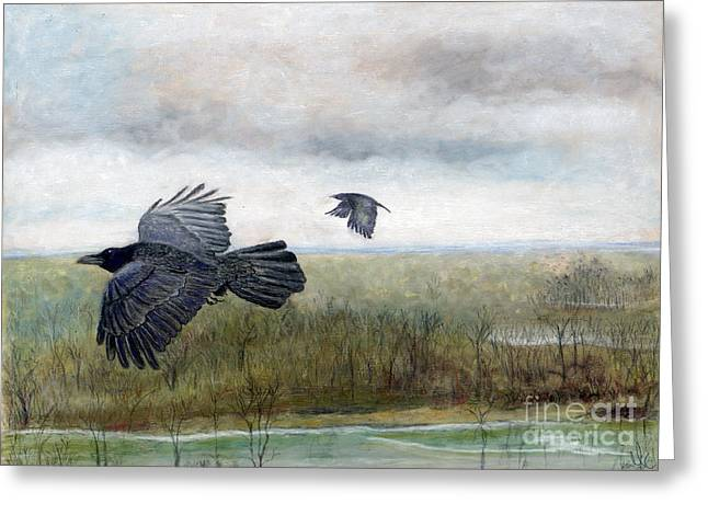 Nature Scene Pastels Greeting Cards - Flying to the Roost Greeting Card by Barb Kirpluk