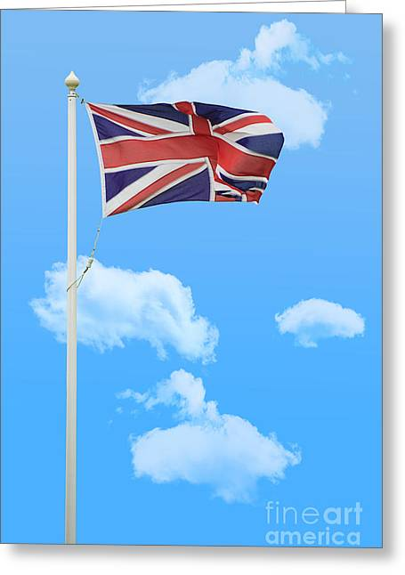 Fluttering Greeting Cards - Flying Union Jack Greeting Card by Amanda And Christopher Elwell