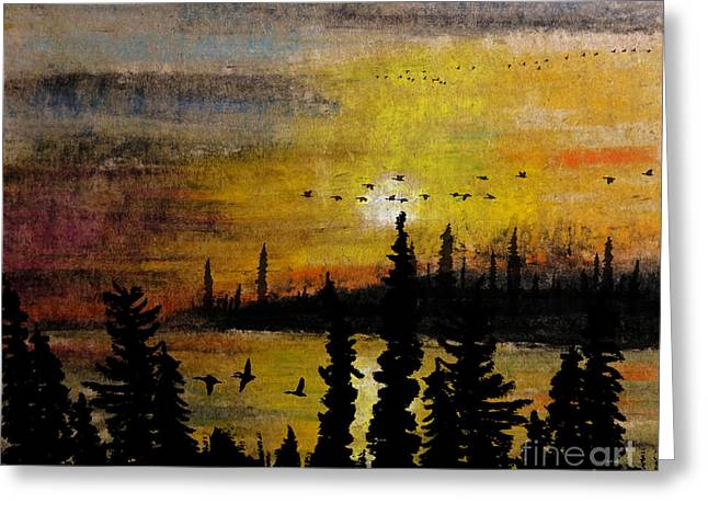 Evening Scenes Pastels Greeting Cards - Flying up the Narrows Greeting Card by R Kyllo