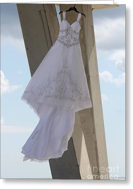 Pensacola Fishing Pier Greeting Cards - Flying Wedding Dress 2 Greeting Card by Michelle Powell