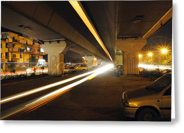 Flyover In The Night Greeting Card by Sumit Mehndiratta