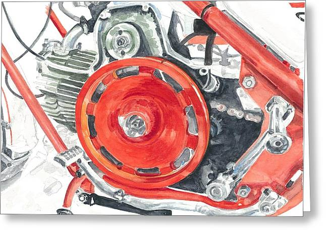 Technical Paintings Greeting Cards - flywheel tuner Nuovo Falcone CV Falcone 1971 Greeting Card by Ingrid Wijnant