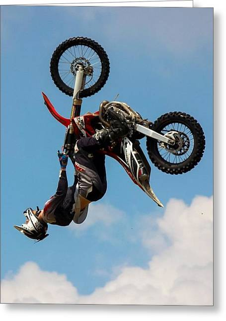 Fmx Greeting Cards - Fmx Backflip Greeting Card by Tyler Howells