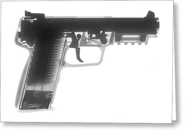 357 Greeting Cards - FN 57 Hand Gun X-Ray Photograph Greeting Card by Ray Gunz