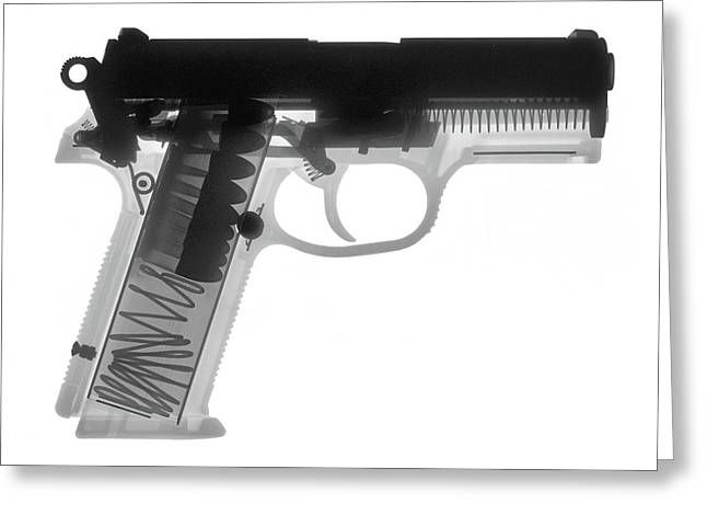 357 Greeting Cards - FN P9A Hand Gun X-Ray Print Greeting Card by Ray Gunz