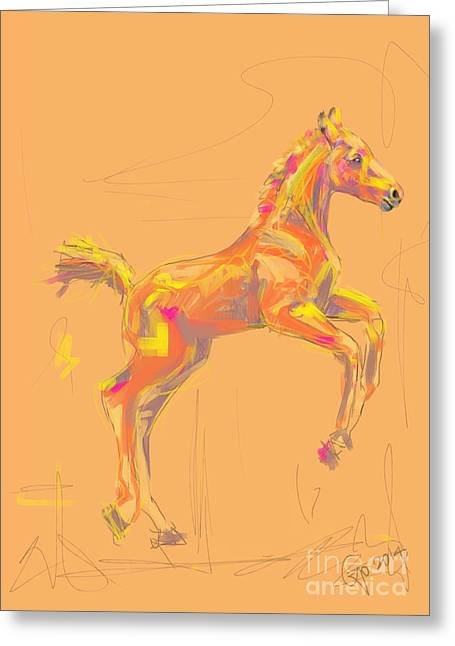 Modern Art Greeting Cards - Foal out and about Greeting Card by Go Van Kampen