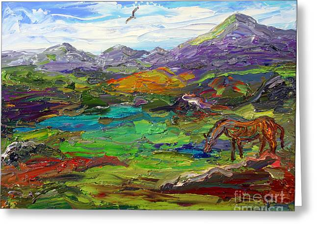 Surreal Landscape Greeting Cards - Foal Strolling In A Field Greeting Card by Arthur Robins