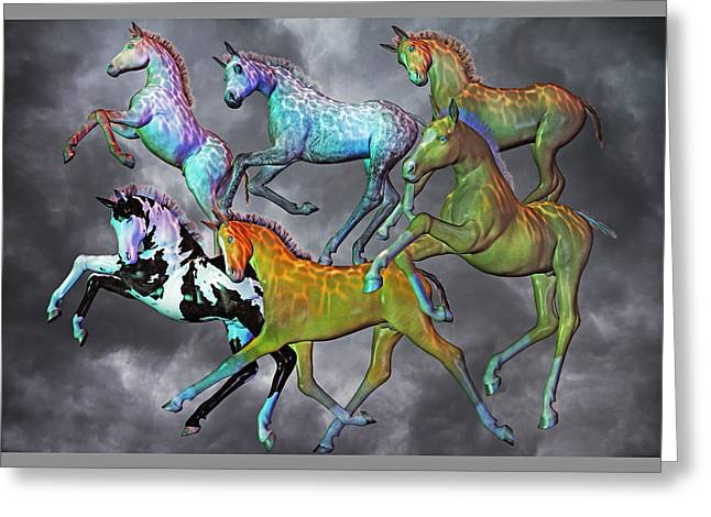 Paint Foal Greeting Cards - Foals Paradise Greeting Card by Betsy C  Knapp