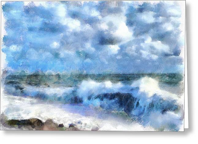 Favorite Color Blue Greeting Cards - Foam Waves at Sea Greeting Card by Yury Malkov