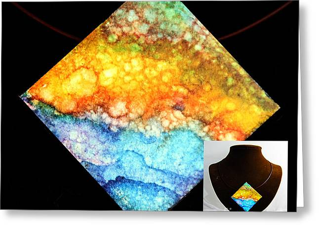 Mountains Jewelry Greeting Cards - Foamy Beach Necklace Greeting Card by Alene Sirott-Cope