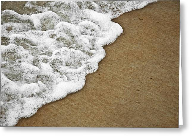 Tide Up Greeting Cards - Foamy Beach Tide Greeting Card by Carolyn Marshall