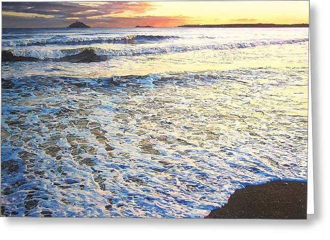 Amazing Sunset Paintings Greeting Cards - Foamy Tide At Garryvoe Beach Greeting Card by Niall McCarthy