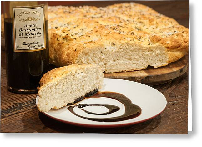 Focaccia Bread With Balsamic Vinegar Greeting Card by Andy Crawford