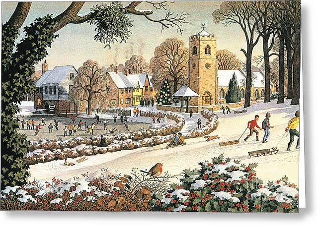 Focus On Christmas Time Greeting Card by Ronald Lampitt