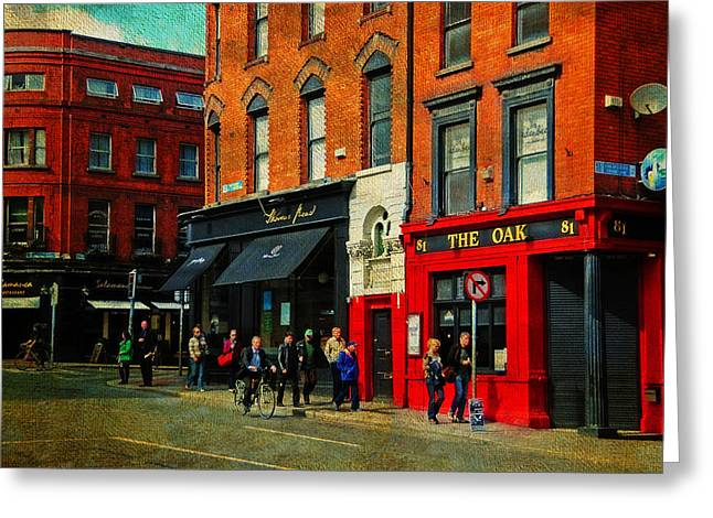 Window Of Life Greeting Cards - Focus on Red. The Oak Pub. Streets of Dublin. Painting Collection Greeting Card by Jenny Rainbow