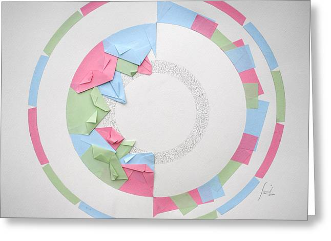 Surreal Geometric Mixed Media Greeting Cards - Focus Greeting Card by Sumit Mehndiratta