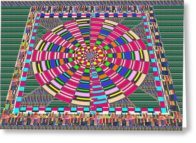 Gymnasium Mixed Media Greeting Cards - Focus Target Yoga Mat Chakra Meditation Round Circles Roulette Game Casino flying carpet energy mand Greeting Card by Navin Joshi