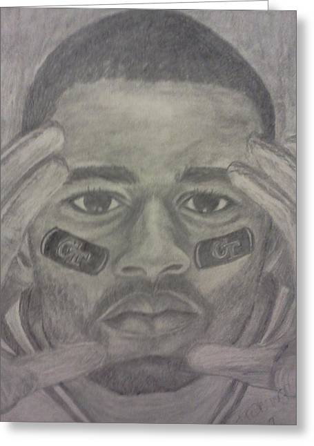 Player Drawings Greeting Cards - Focused on the Game Greeting Card by Christy Brammer