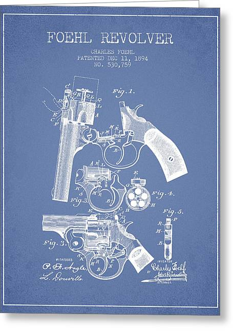 Browning Greeting Cards - Foehl Revolver Patent Drawing from 1894 - Light Blue Greeting Card by Aged Pixel