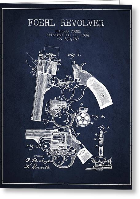 Browning Greeting Cards - Foehl Revolver Patent Drawing from 1894 - Navy Blue Greeting Card by Aged Pixel