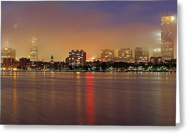 Charles River Greeting Cards - Fog and Moon over Boston Greeting Card by Juergen Roth
