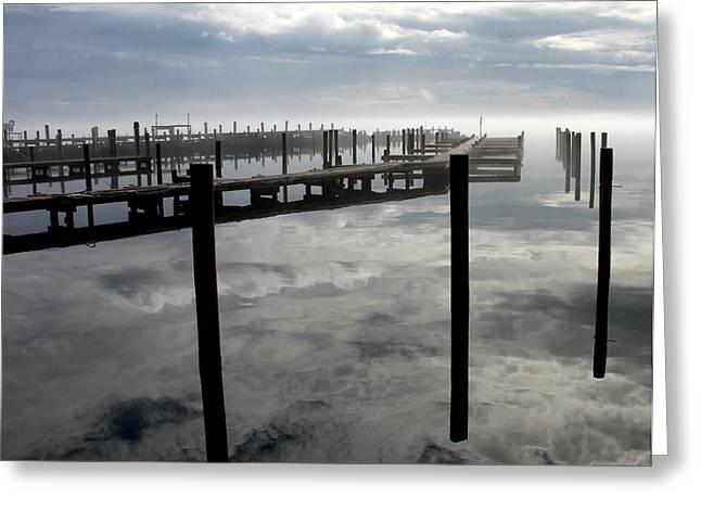 Harkers Greeting Cards - Fog and reflection at Harkers Island Greeting Card by Rand Wall