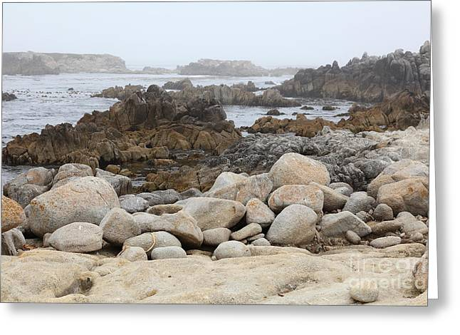 Pacific Grove Greeting Cards - Fog And Rock Formations At Asilomar State Beach in Pacific Grove Near Monterey California 5D25112 Greeting Card by Wingsdomain Art and Photography