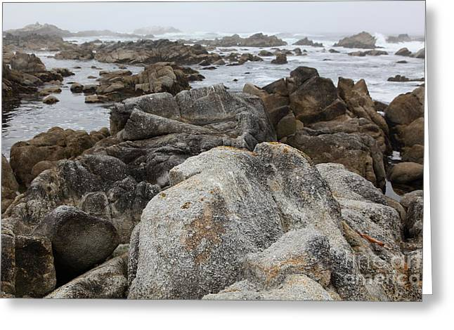Pacific Grove Beach Greeting Cards - Fog And Rock Formations At Asilomar State Beach in Pacific Grove Near Monterey California 5D25113 Greeting Card by Wingsdomain Art and Photography