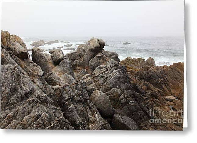 Pacific Grove Beach Greeting Cards - Fog And Rock Formations At Asilomar State Beach in Pacific Grove Near Monterey California 5D25114 Greeting Card by Wingsdomain Art and Photography