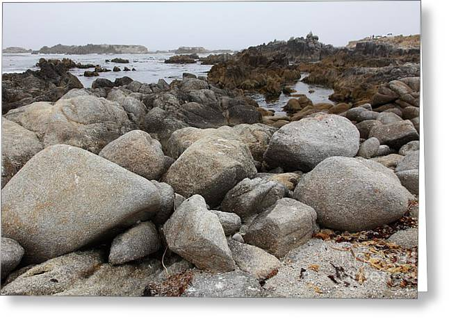 Pacific Grove Greeting Cards - Fog And Rock Formations At Asilomar State Beach in Pacific Grove Near Monterey California 5D25123 Greeting Card by Wingsdomain Art and Photography