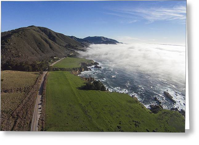 Big Sur Beach Greeting Cards - Fog Blanket at Rocky Point Greeting Card by David Levy